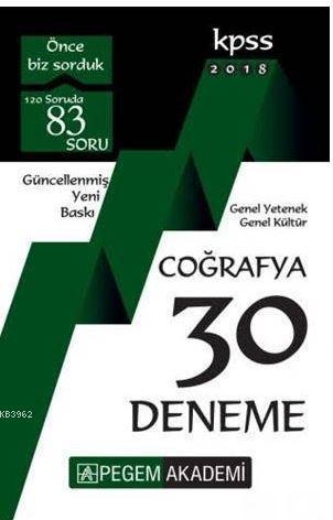 2018 KPSS Genel Yetenek Genel Kültür Coğrafya 30 Deneme