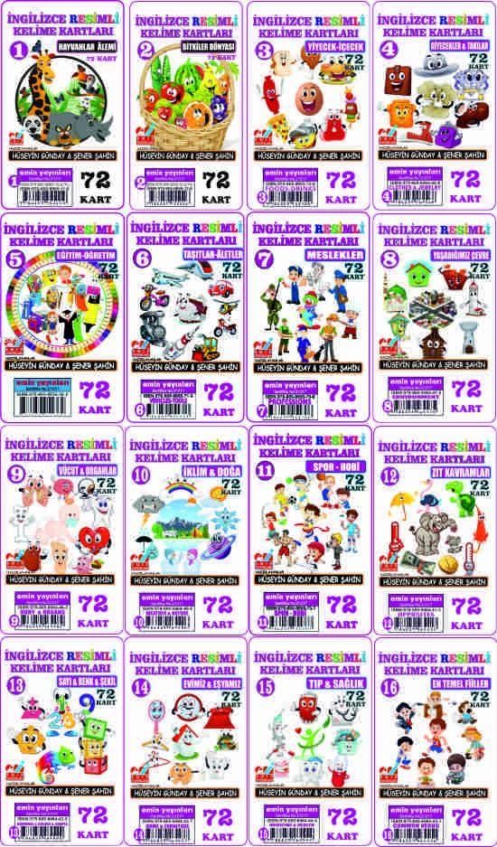İngilizce Resimli Kelime Kartları Takım (1-16) 1152-Kart