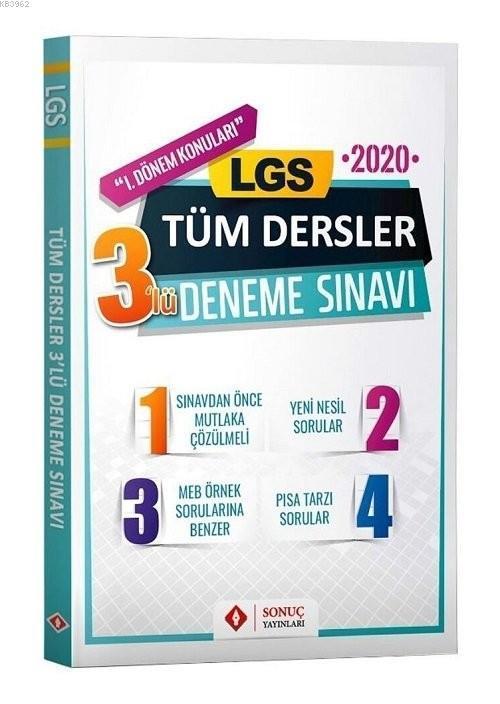 Sonuç Yayınları 8. Sınıf LGS 1. Dönem Tüm Dersler 3 lü Deneme Sonuç