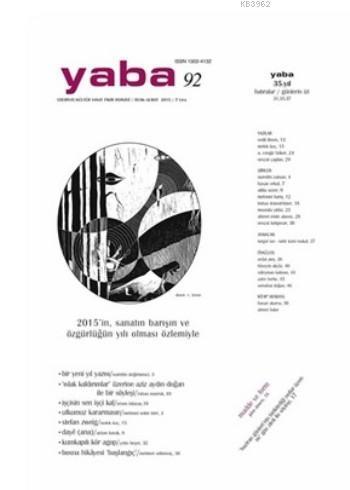 Yaba Edebiyat Kültür Sanat Fikir Dergisi Sayı: 92