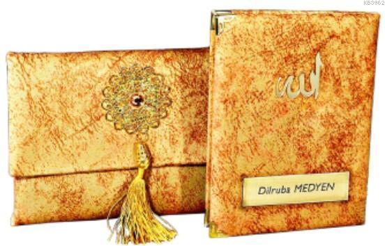 Nubuk Kumaş Kaplı ve Çantalı Yasin Kitabı Seti -Sarı