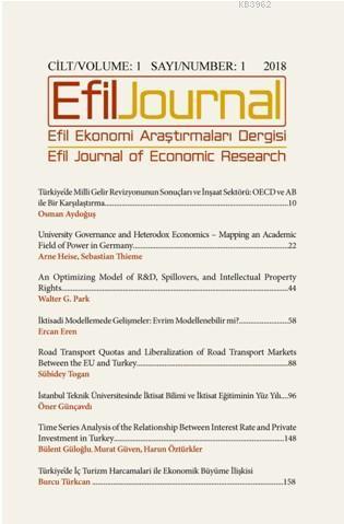 Efil Ekonomi Araştırmaları Dergisi Cilt: 1 Sayı 1, 2018