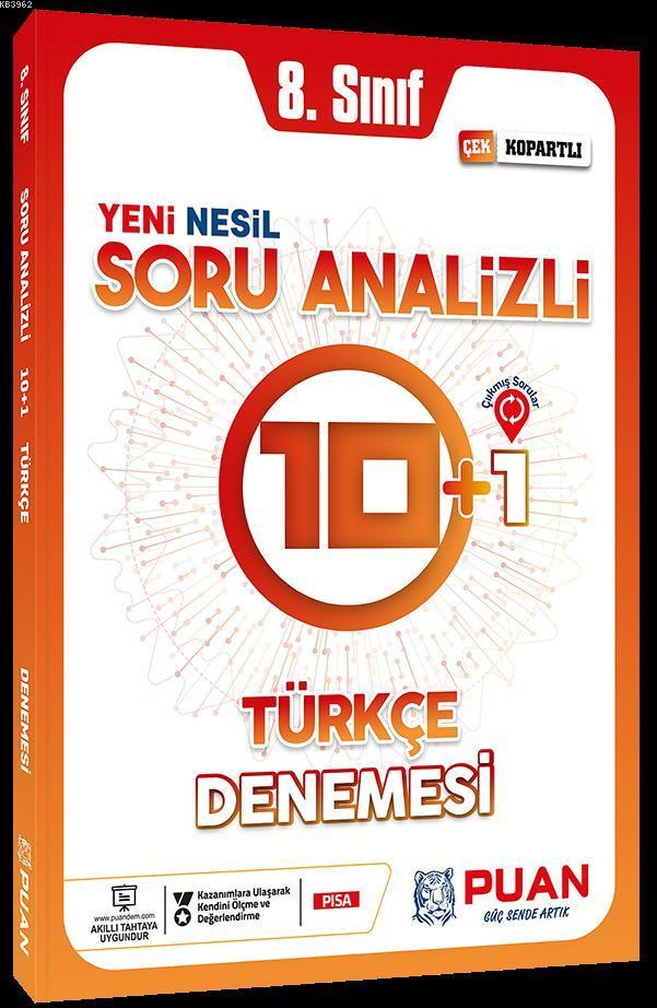 Puan Yayınları 8. Sınıf LGS Türkçe Soru Analizli 10+1 Deneme Puan