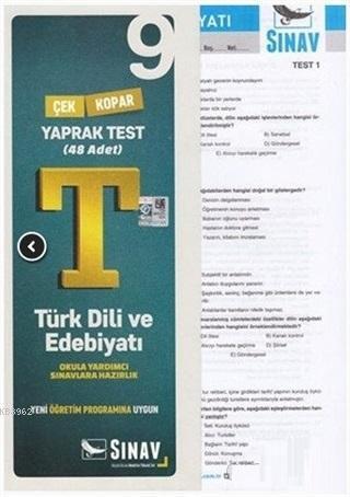 9. Sınıf Türk Dili ve Edebiyatı Çek Kopar Yaprak Test