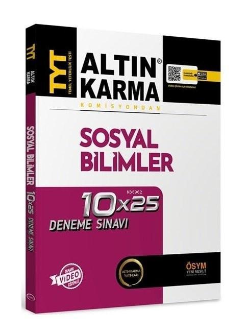 Altın Karma Yayınları TYT Sosyal Bilimler Tamamı Video Çözümlü 10x25 Deneme Sınavı Altın Karma