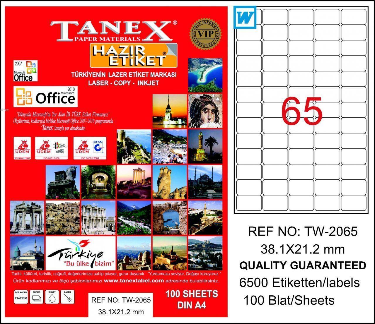 Tanex Laser Etiket Tw-2065 38.1 X 21.2 Mm