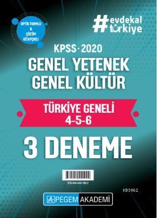 2020 KPSS Genel Yetenek Genel Kültür Türkiye Geneli Deneme (4.5.6) 3`lü Deneme Seti