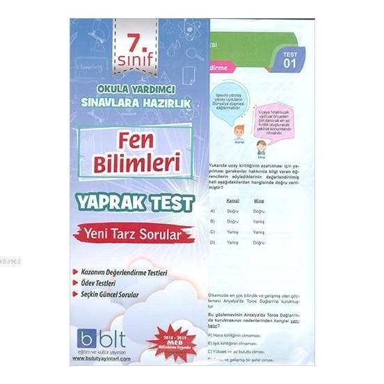 7. Sınıf Fen Bilimleri Yaprak Test