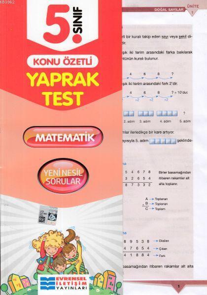 Evrensel 5. Sınıf Matematik Konu Özetli Yaprak Test