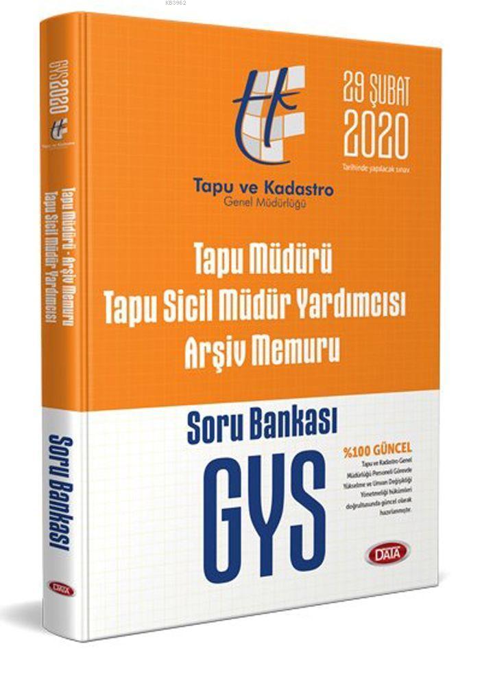Data Yayınları GYS Tapu Müdürü Tapu Sicil Müdür Yardımcısı Arşiv Memuru Soru Bankası
