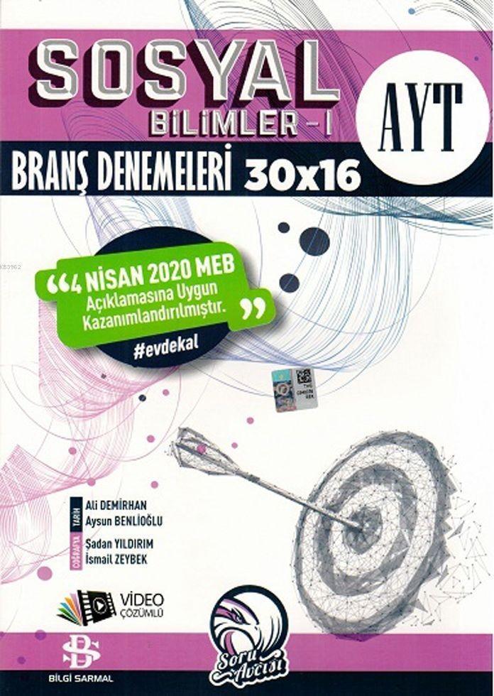 Bilgi Sarmal Yayınları AYT Sosyal Bilimler 1 30 x 16 Evdekal 2020 Özel Branş Denemeleri Bil