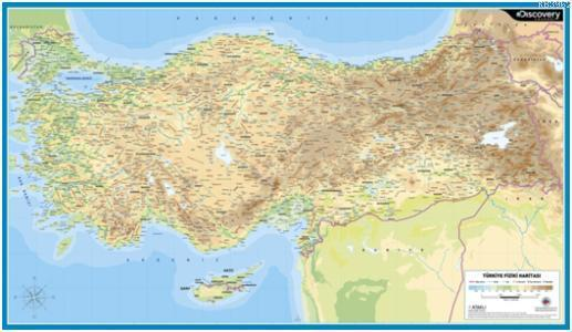 Discovery Channel Duvar Haritaları; Türkiye Fiziki