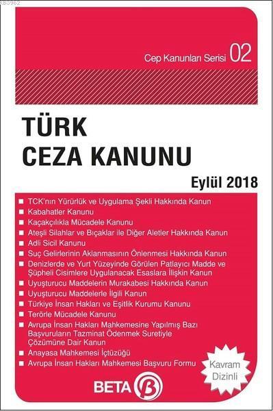 Türk Ceza Kanunu (Eylül 2018); (Cep Boy)