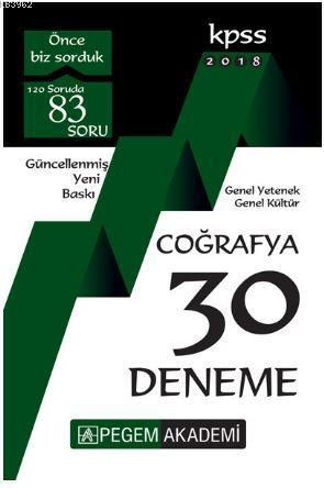 2018 KPSS Genel Yetenek - Genel Kültür Coğrafya 30 Deneme