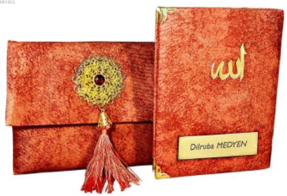 Nubuk Kumaş Kaplı ve Çantalı Yasin Kitabı Seti - Turuncu