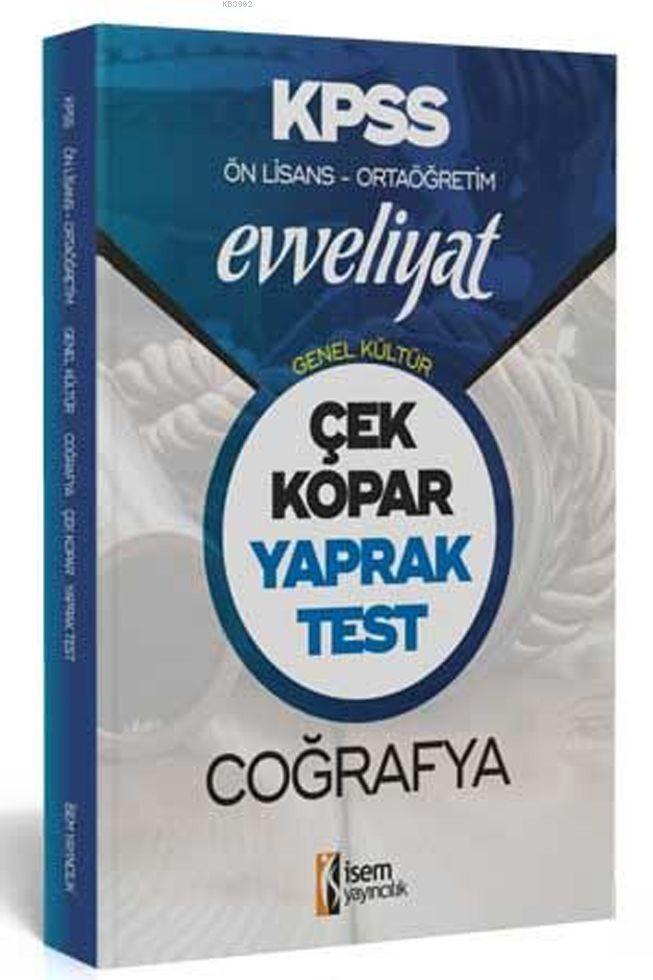 İsem Yayınları KPSS Ön Lisans Ortaöğretim Coğrafya Evveliyat Yaprak Test