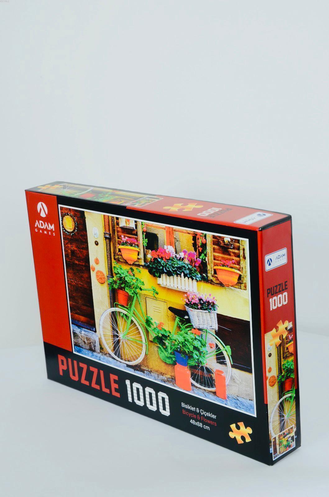 Adam Games Bisiklet Çiçekler 1000 Parça Puzzle 48x68