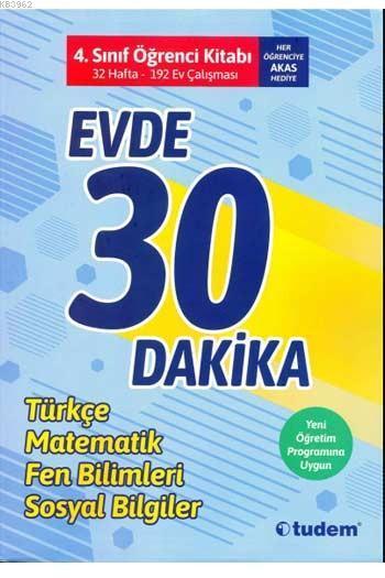 Tudem Yayınları 4. Sınıf Evde 30 Dakika Türkçe Matematik Fen Bilimleri Hayat Bilgisi Soru Ev Çalışması Tudem