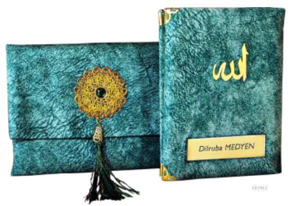 Nubuk Kumaş Kaplı ve Çantalı Yasin Kitabı Seti -Mint