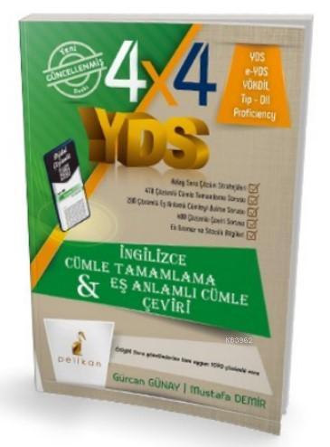 4x4 YDS Seti 1 Kitap Cümle Tamamlama, Çeviri ve Eş Anlamlı Cümle