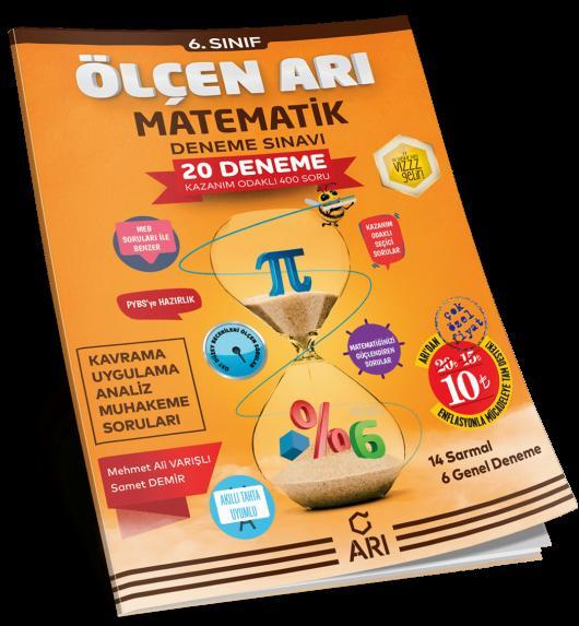 Arı Yayınları 6. Sınıf Matematik Ölçen Arı 20 Deneme Sınavı Arı