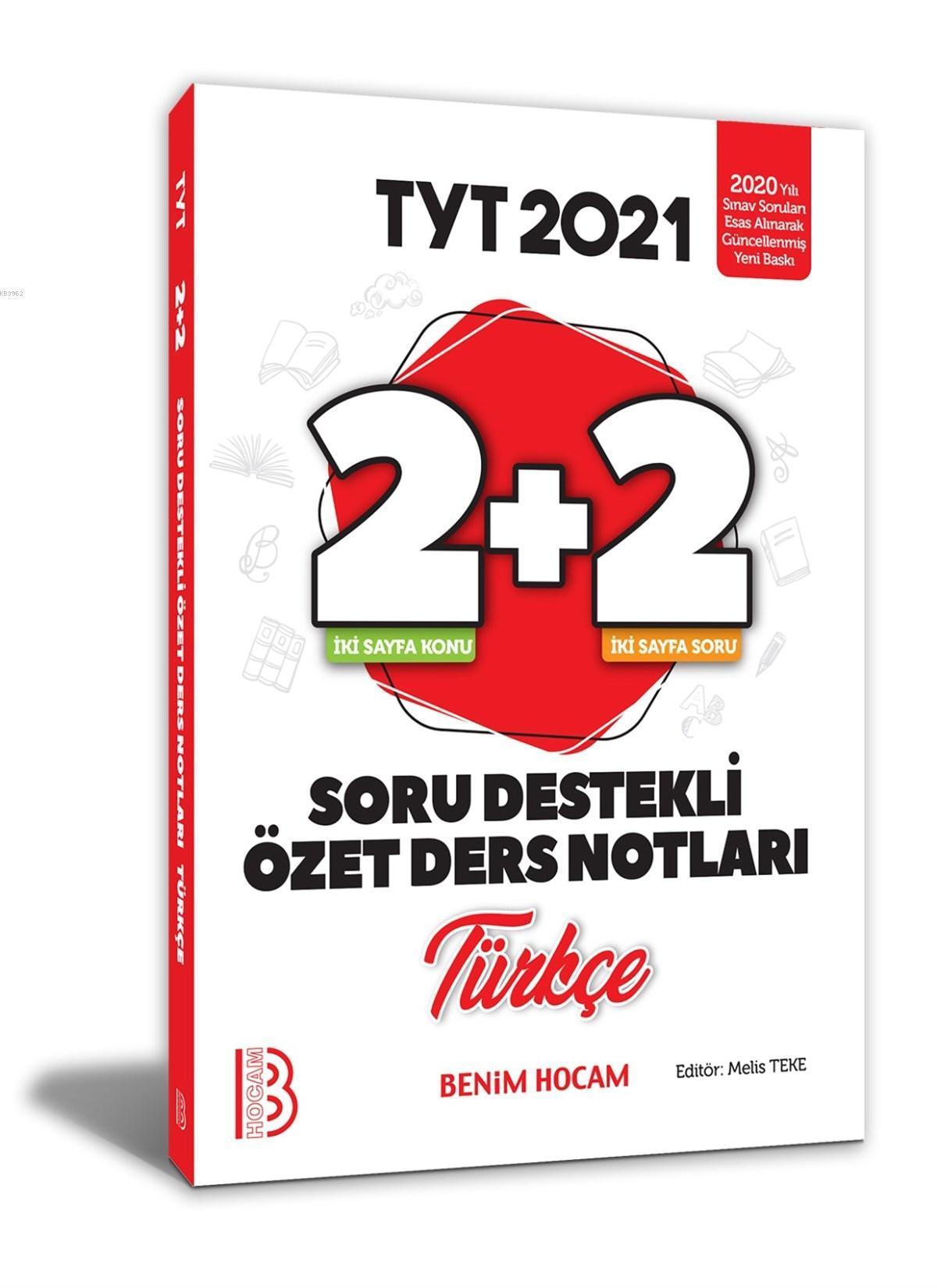 2021 YKS TYT Türkçe 2+2 Soru Destekli Özet Ders Notları Benim Hocam Yayınları