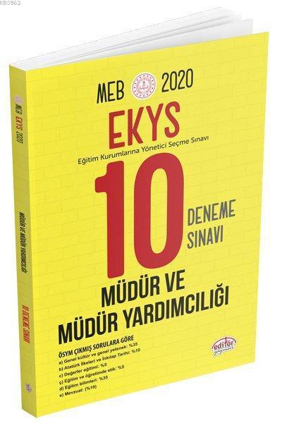 Editör Yayınları 2020 EKYS MEB Müdür ve Müdür Yardımcılığı 10 Deneme