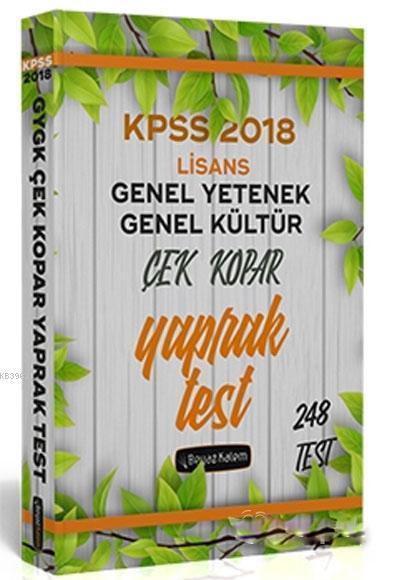 2018 KPSS Genel Yetenek Genel Kültür Çek Kopar Yaprak Test