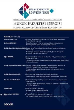 Hasan Kalyoncu Üniversitesi Hukuk Fakültesi Dergisi Sayı:18  Temmuz 2019