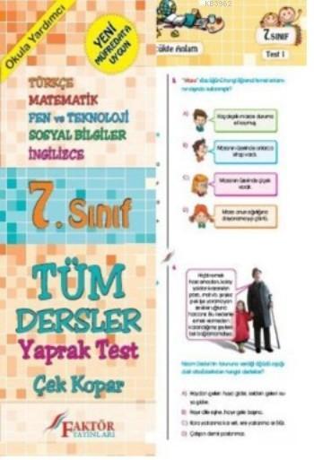 7. Sınıf Tüm Dersler Yaprak Testler