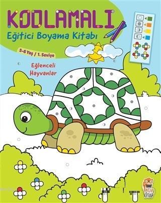 Kodlamalı Eğitici Boyama Kitabı - Eğlenceli Hayvanlar (5-6 Yaş 1. Seviye) - ön kapak Kodlamalı Eği