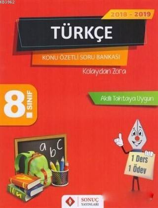 2018 - 2019 8. Sınıf Türkçe Kolaydan Zora Konu Özetli Soru Bankası; Akıllı Tahtaya Uygun