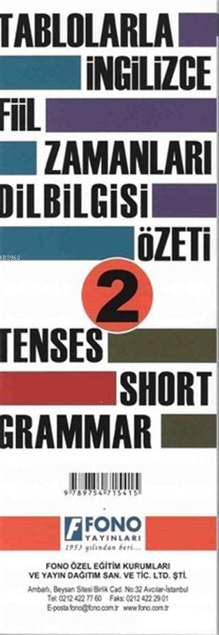 Tablolarla İngilizce Fiil Zamanları Dilbilgisi Özeti 2