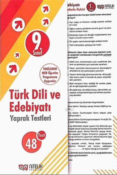 Nitelik - 9. Sınıf Türk Dili Ve Edebiyatı Yaprak Test  *Yeni* 2019