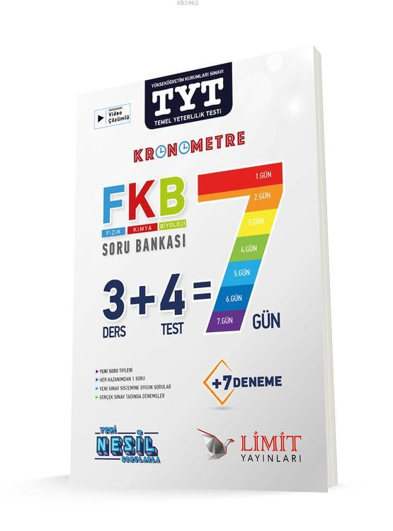 Limit TYT FKB Fizik Kimya Biyoloji 7 Gün Soru Bankası