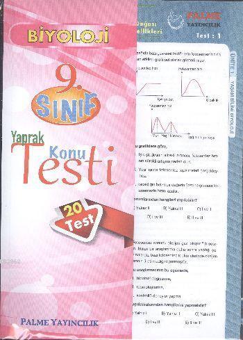 9. Sınıf Biyoloji Yaprak Konu Testi