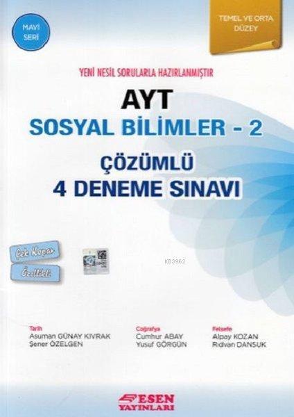 AYT Sosyal Bilimler 2-Çözümlü 4 Deneme Sınavı-Temel ve Orta Düzey