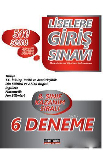 Reform Akademi 8. Sınıf LGS Kazanım Sıralı 6 lı Deneme Sınavı