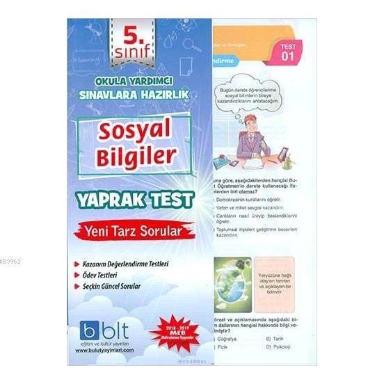 5. Sınıf sosyal Bilgiler Yaprak Test Okula Yardımcı ve Sınavlara Hazırlık