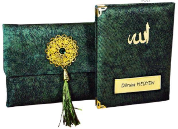 Nubuk Kumaş Kaplı ve Çantalı Yasin Kitabı Seti -K. Yeşil