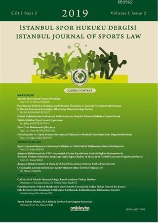 İstanbul Spor Hukuku Dergisi Cilt: 1 Sayı: 2 - 2019
