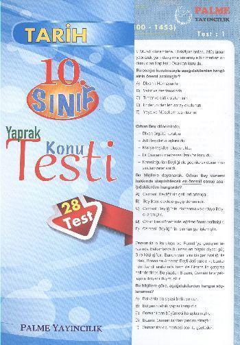 10. Sınıf Tarih Yaprak Konu Testi