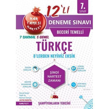 Nartest Yayınları 7. Sınıf Türkçe Nar Tanesi 12 li Deneme Sınavı Nartest