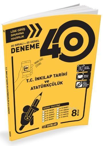Hız Yayınları 8. Sınıf T.C. İnkilap Tarihi Ve Atatürkçülük 40 li Deneme