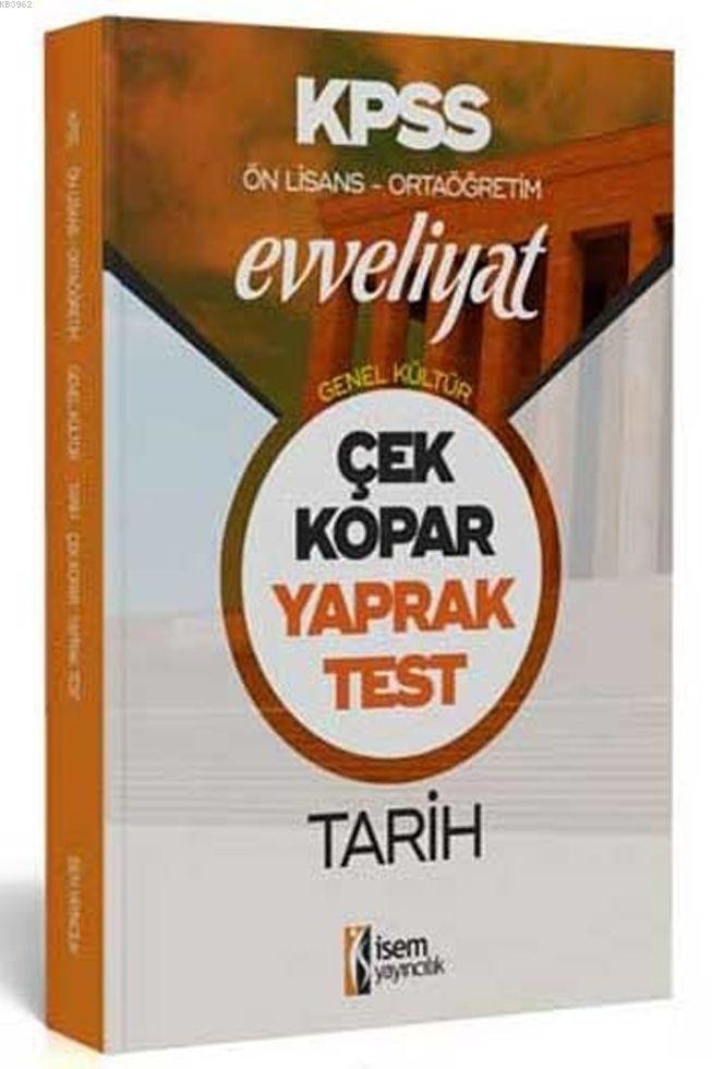 İsem Yayınları KPSS Ön Lisans Ortaöğretim Tarih Evveliyat Yaprak Test