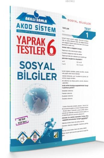 Akıllı Damla Sosyal Bilgiler Yaprak Testler 6. Sınıf; Akıllı Damla Akod Sistem (Akıllı Optik Değerlendirme Sistemi) Yaprak Testler