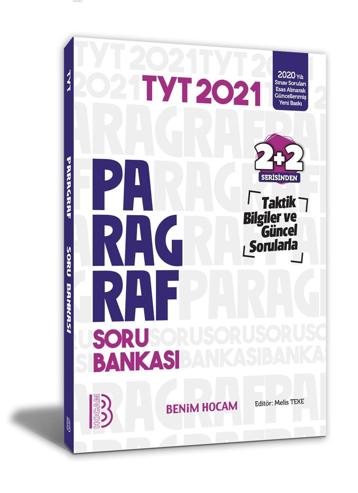 2021 TYT Paragraf Soru Bankası 2+2 Serisinden Benim Hocam Yayınları
