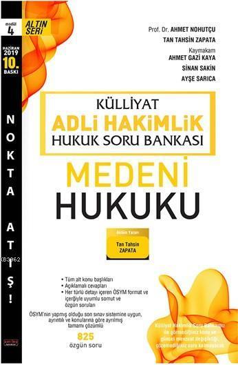 Külliyat Medeni Hukuk Soru Bankası Adli Hakimlik Savaş Yayınları Haziran 2019