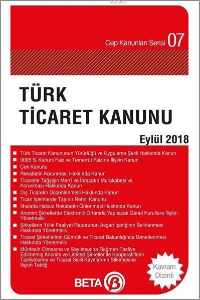 Türk Ticaret Kanunu (Eylül 2018); (Cep Boy)
