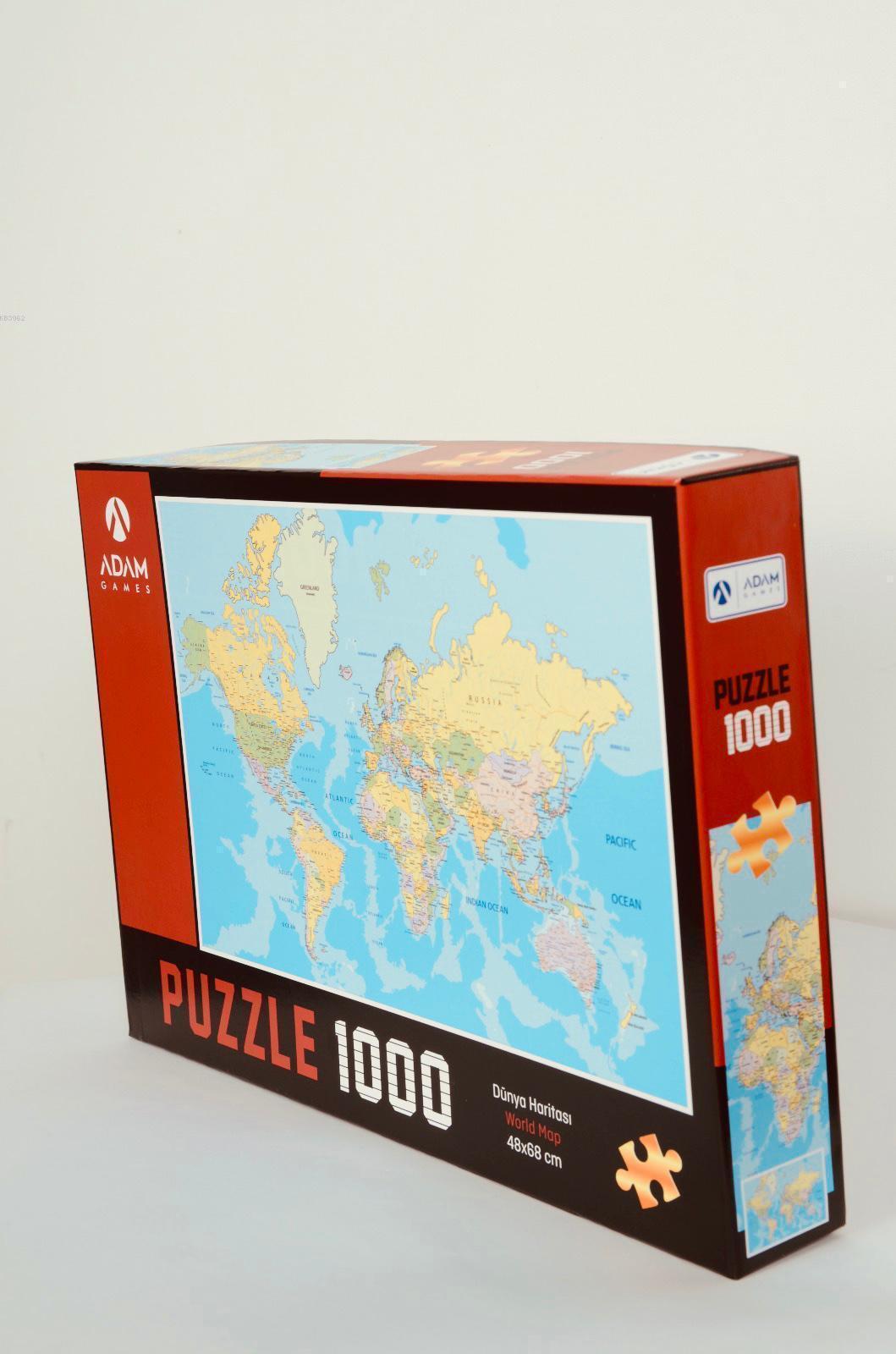 Adam Games Dünya Haritası 1000 Parça Puzzle 48x68